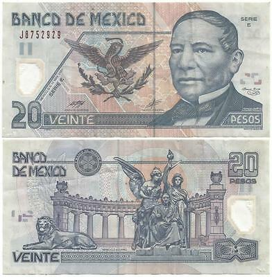 """2001 MEXICO Nice """"Veinte"""" or 20 Pesos POLYMER PLASTIC Note ISSUED 2001-2005 ONLY"""