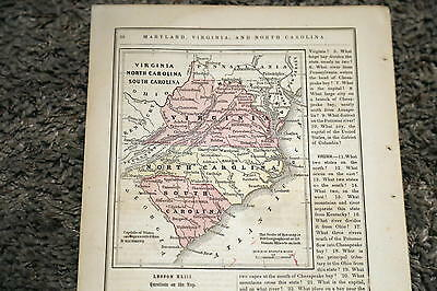 (7)1858-66 Rare Beautiful Mcnally Antique Atlas Maps-North Carolina-Handcolored