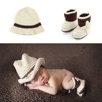 Baby Photography Props Cowboy Crochet Costume Knitted Newborn Costume Shoes+Hat
