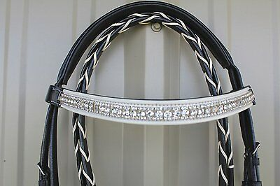 Horse English Show Polo Padded Bridle Crystal Bling Browband 80311P