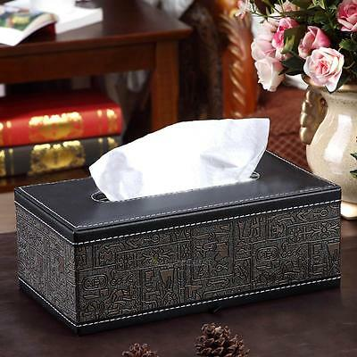 Car Home Ancient Egypt Rectangle PU Leather Napkin Paper Tissue Box Cover Case