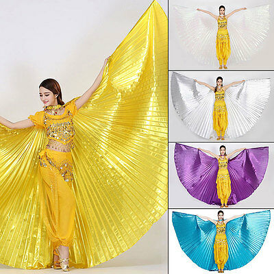 AU Sparkly Belly Dance Wings Costume Shining ISIS WINGS Dance Wear Solid Colors