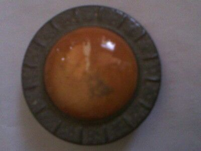 Stunning vintage round arts and crafts Ruskin style shield brooch