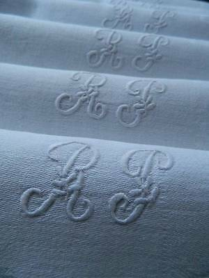 "Set of six (6) matching French linen napkins - embroidered monogram ""R.P"""