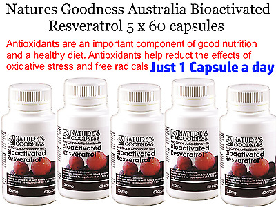 5 x 60 NATURE'S GOODNESS Australia Bioactivated Resveratrol 500mg * Anti Aging *