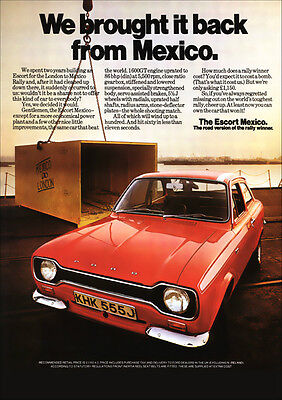 Ford Escort Mk1 Mexico Car Retro A3 Poster Print From Advert