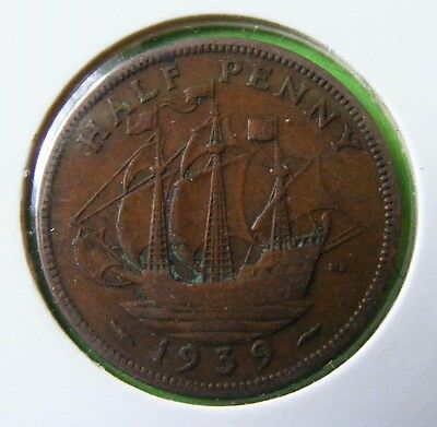 George V Half Penny Coin Minted 1939 - WWII - Lot#5515