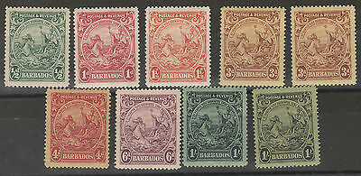 Barbados 1925 Kgv Seahorses Range To 1/- Plus 3D And 1/- Shades  Perf 14