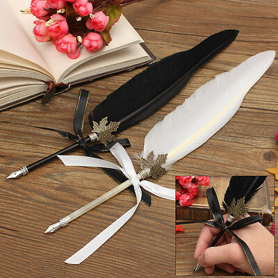 Vintage 35cm Quill Dip Pen + 10ml Ink Set Gift Accessory Black White Feather New
