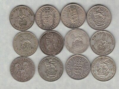 Type Set Of 14 Shillings Dated 1887 To 1966 In Fine Or Better Condition