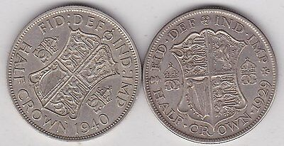 1929 & 1940 50% Silver Half Crowns In Very Fine Condition