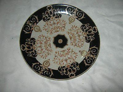 A Chinese WL (Wong Lee) 1886 Thick Ceramic Crackle Glaze Ornate Wall Charger