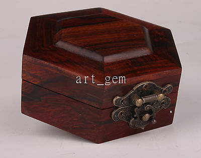 Manual Hexagonal Rare Wood Ancient Style Jewelry Box Vintage Collectable Old