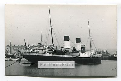 """Paddle steamer """"Paris"""" in unknown port - old postcard-sized photo"""