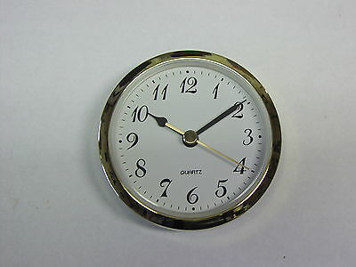 "CLOCK FIT UP White Dial,easy to read Arabic numbers,Insert 3 1/2"" dia, NEW,#330"