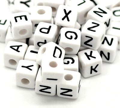 DIY 100X Mixed Cubic Acrylic Letter/ Alphabet Spacer Beads 10x10mm