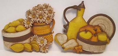 Syroco Flowers and Fruit Basket Wall Plaques Retro Kitchen Decor