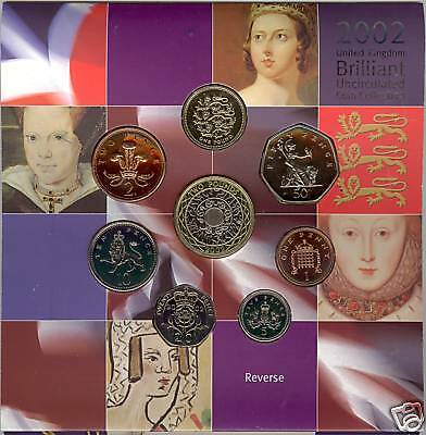 2002 Brilliant Uncirculated Set Of 8 Coins