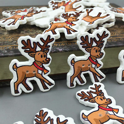 DIY Christmas reindeer shape Wooden Buttons Sewing festival Decoration 35mm