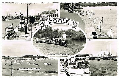 Real Photo Multiview Postcard - Miniature Railway & The Quay Poole Dorset