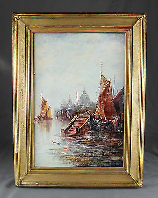 19th 20th Century Oil Painting London Old Barges on the Thames