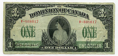 1917 Dominion Of Canada $1 Very Fine
