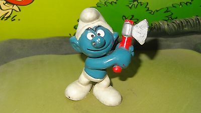 Smurfs Wood Chopping Axe Handy Smurf Rare Vintage Awesome Toy Figure Best Value
