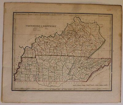 1835 Original Thomas Bradford Map of Tennessee and Kentucky, Handcolored