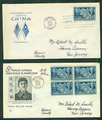 US 906 Chinese Resistance, First Day Covers, Backstamped Harvey Cedars 1942