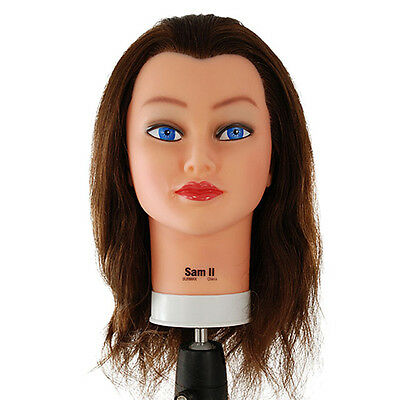 """Celebrity 22"""" Cosmetology Mannequin Head Human Hair - Sam 2 Brown - S153"""