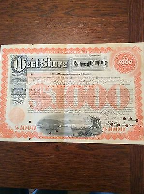 West Shore Railroad Co. Dated 1929 $1000 Shares Invalid  SHARE CERTIFICATE