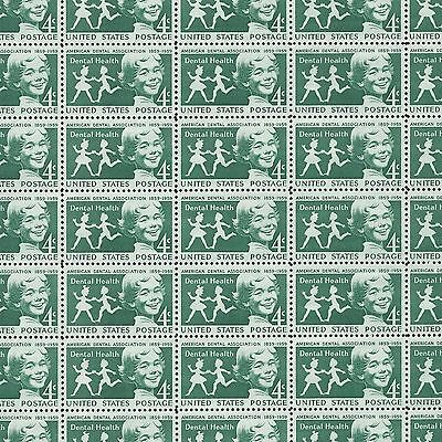 100 Years of the ADA - Dental Health Vintage Mint Sheet of Stamps 58 Years Old!