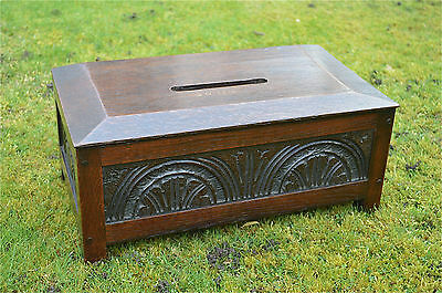 Antique carved oak collection alms box ballot box letter box coffer