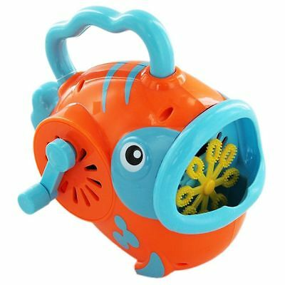 Bubble Factory Wind Up Fish Bubble Blower Blowing Machine ~ Colour Vary