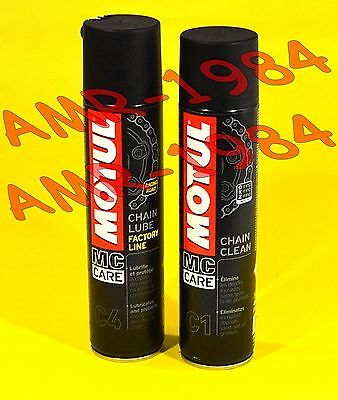 Spray Catena + Chain Clean C1 - Chain Lube C4 Motul Factory Line 400Ml  Spray