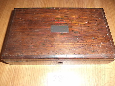 Vintage technical drawing set in wooden box
