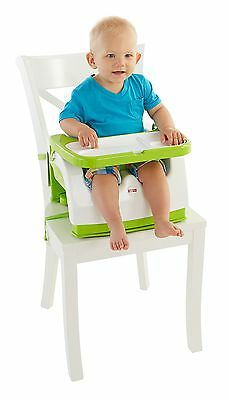 Fisher-Price Grow-with-Me Portable Booster Seat Green/White New