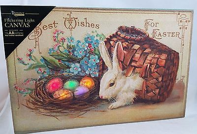 Flickering LED Lighted EASTER WISHES Canvas Display Easter Bunny & Eggs NEW
