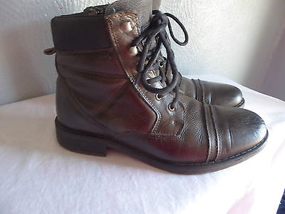 River Island Grey/black Leather Ankle Boots Size 7 (Eu41)