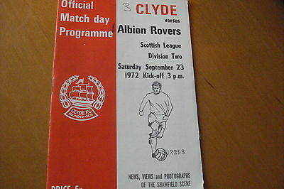 Clyde V Albion Rovers                                                    23/9/72