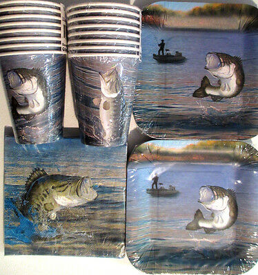 GONE FISHING - Birthday Party Supplies Set Pack for 16 w/ Plates, Napkins & Cups
