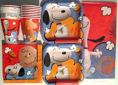 PEANUTS Snoopy & Charlie Brown - Birthday Party Supply Kit Pack Set For 16