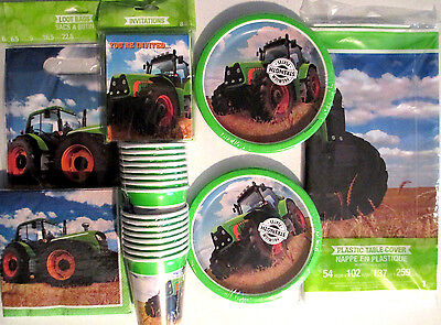 TRACTOR TIME John Deere Style Birthday Party Supply DELUXE Kit w/Bags & Invites