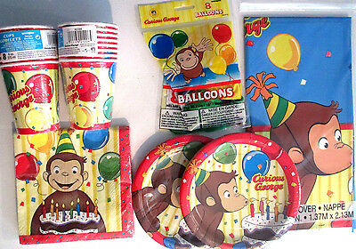 CURIOUS GEORGE - Birthday Party Supply Pack Kit w/ Balloons