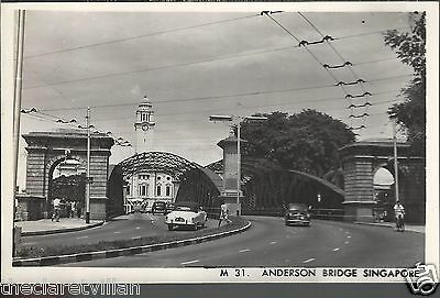 Singapore Anderson Bridge Trolleybus wires Plain back 1950s Unposted Real Photo
