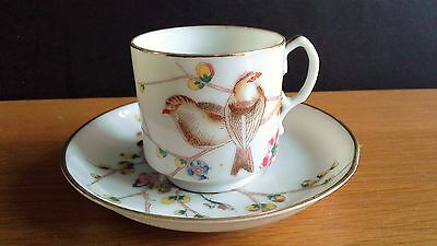 Antique Vintage Japanese Hand Painted Bird Design Coffee Cup & Saucer c1900's
