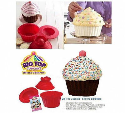 Giant Jumbo Mega Bigtop Birthday Cupcake Cup Cake Silicone Mould Bake Baking FTW