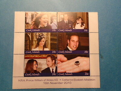 Cook Islands: 2010 QE2 6x 10c William & Kate Engagement mini sheet. MNH