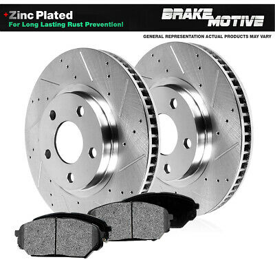 Front Black Drill Slot Brake Rotors For 2005 2006 2007 2008-2014 Ford Mustang