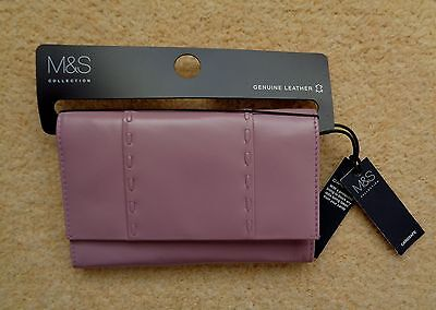 M&S Collection Lilac Leather Cardsafe Purse Wallet BNWT